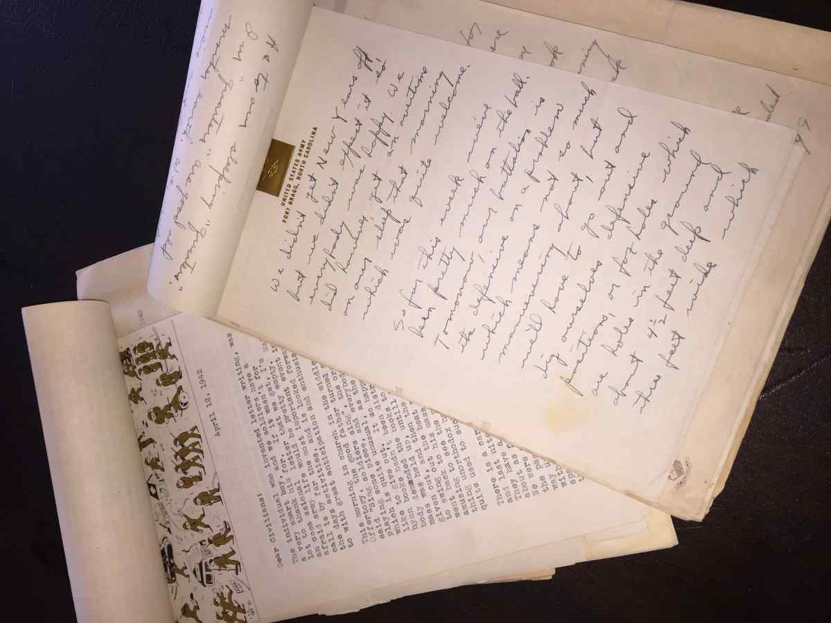 The Hayes Collection includes bundles of letters saved from Bill during his training